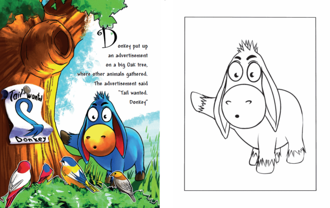 How Donkey Was Picking His Tail coloring book preview 2