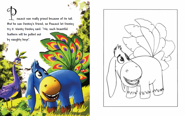 How Donkey Was Picking His Tail coloring book preview 1